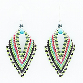 Russian Leaf Earring Beadwork Kit with MIYUKI Delicas - Pink/Blue/Black